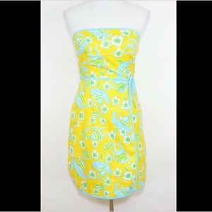 LILLY PULITZER Yellow blue monkeys strapless dress